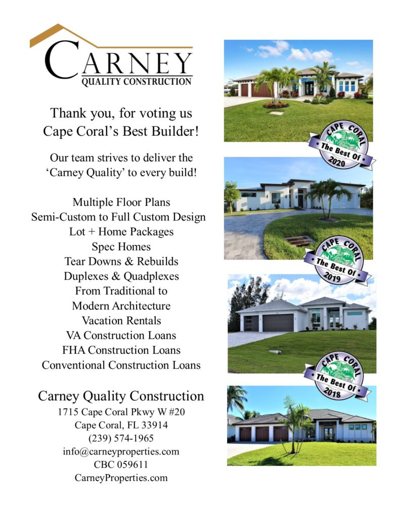 2018, 2019 & 2020 Best Builder of Cape Coral